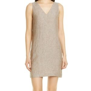 Theory V Neck Shift Linen Dress